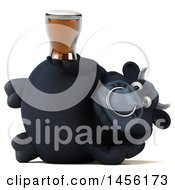 3d Black Bull Character Holding A Beer On A White Background