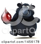 Clipart Graphic Of A 3d Black Bull Character Holding A Blood Drop On A White Background Royalty Free Illustration