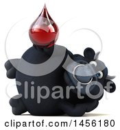 3d Black Bull Character Holding A Blood Drop On A White Background
