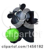 3d Black Bull Character Holding A Green Apple On A White Background