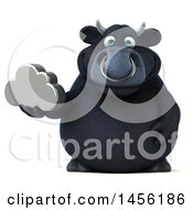 3d Black Bull Character Holding A Cloud On A White Background