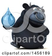3d Black Bull Character Holding A Water Drop On A White Background