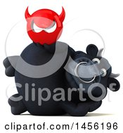 Clipart Graphic Of A 3d Black Bull Character Holding A Devil Head On A White Background Royalty Free Illustration