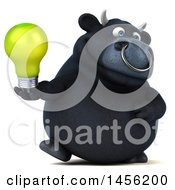 Poster, Art Print Of 3d Black Bull Character Holding A Light Bulb On A White Background