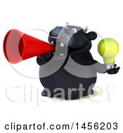 3d Black Bull Character Holding A Light Bulb On A White Background