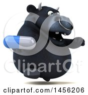 3d Black Bull Character Holding A Pill On A White Background