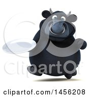 Clipart Graphic Of A 3d Black Bull Character Holding A Plate On A White Background Royalty Free Illustration