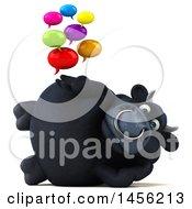 3d Black Bull Character Holding Speech Balloons On A White Background