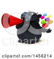 3d Black Bull Character Holding Speech Balloons On A White Background