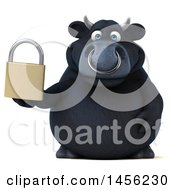 3d Black Bull Character Holding A Padlock On A White Background