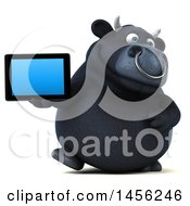 3d Black Bull Character Holding A Tablet Computer On A White Background