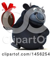 Clipart Graphic Of A 3d Black Bull Character Holding A Chocolate Easter Egg On A White Background Royalty Free Illustration