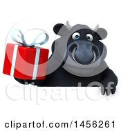 Poster, Art Print Of 3d Black Bull Character Holding A Gift On A White Background