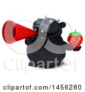 3d Black Bull Character Holding A Strawberry On A White Background