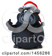 3d Naughty Black Christmas Bull Character Holding Up A Middle Finger On A White Background