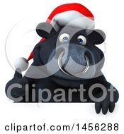 3d Black Christmas Bull Character Over A Sign On A White Background