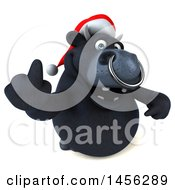 3d Black Christmas Bull Character Holding Up A Middle Finger On A White Background