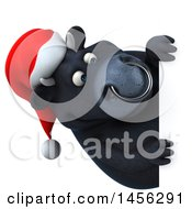 3d Black Christmas Bull Character Looking Around A Sign On A White Background