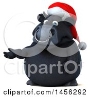 3d Black Christmas Bull Character Presenting On A White Background