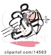 Winged Dog Flying And Shooting Arrows With A Bow Like Cupid On Valentines Day Clipart Illustration by Andy Nortnik