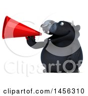 3d Black Bull Character Using A Megaphone On A White Background