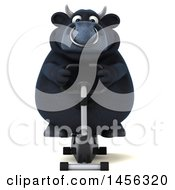 Clipart Graphic Of A 3d Black Bull Character Exercising On A Spin Bike On A White Background Royalty Free Illustration