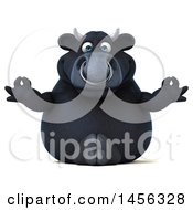 Clipart Graphic Of A 3d Black Bull Character Meditating On A White Background Royalty Free Illustration