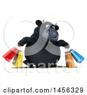 3d Black Bull Character Carrying Shopping Bags On A White Background