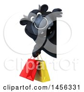 3d Black Bull Character Holding Shopping Bags Around A Sign On A White Background