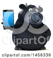 3d Black Bull Character Holding A Smart Phone On A White Background