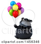 Clipart Graphic Of A 3d Black Bull Character Holding Party Balloons On A White Background Royalty Free Illustration