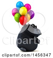 Poster, Art Print Of 3d Black Bull Character Holding Party Balloons On A White Background