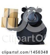 3d Black Bull Character Holding A Box On A White Background