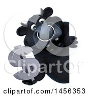 3d Black Bull Character On A White Background