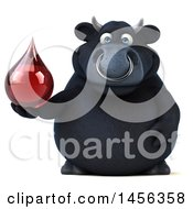 Clipart Graphic Of A 3d Black Bull Character On A White Background Royalty Free Illustration