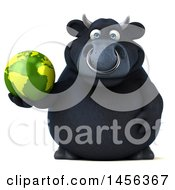 Clipart Graphic Of A 3d Black Bull Character Holding A Globe On A White Background Royalty Free Illustration by Julos