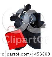 Clipart Graphic Of A 3d Black Bull Character Holding A Shopping Bag Around A Sign On A White Background Royalty Free Illustration by Julos