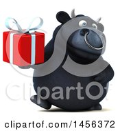 Clipart Graphic Of A 3d Black Bull Character Holding A Gift On A White Background Royalty Free Illustration by Julos