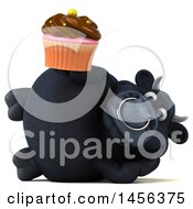 Clipart Graphic Of A 3d Black Bull Character Holding A Cupcake On A White Background Royalty Free Illustration by Julos