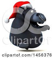 Clipart Graphic Of A 3d Black Christmas Bull Character On A White Background Royalty Free Illustration by Julos