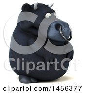 Clipart Graphic Of A 3d Black Bull Character On A White Background Royalty Free Illustration by Julos