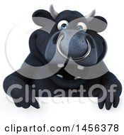 Clipart Graphic Of A 3d Black Bull Character Over A Sign On A White Background Royalty Free Illustration by Julos