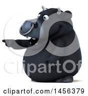 Clipart Graphic Of A 3d Black Bull Character Pointing On A White Background Royalty Free Illustration by Julos