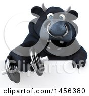 Clipart Graphic Of A 3d Black Bull Character Working Out With A Dumbbell On A White Background Royalty Free Illustration by Julos