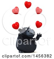 Clipart Graphic Of A 3d Black Bull Character Juggling Hearts On A White Background Royalty Free Illustration by Julos