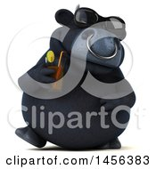 Clipart Graphic Of A 3d Black Bull Character Sipping A Drink On A White Background Royalty Free Illustration by Julos