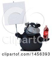 Poster, Art Print Of 3d Black Bull Character Holding A Soda Bottle On A White Background