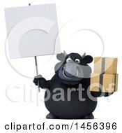3d Black Bull Character Holding Boxes On A White Background
