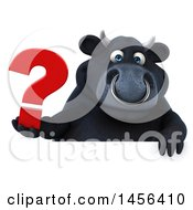 3d Black Bull Character Holding A Question Mark On A White Background