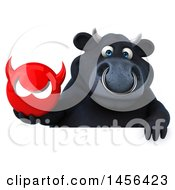 3d Black Bull Character Holding A Devil Head On A White Background